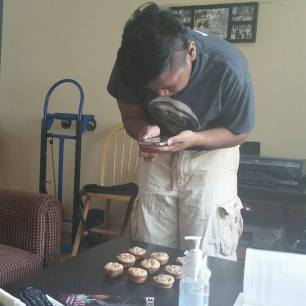 My sister caught me trying to get an ~artsy~ photo of some muffins